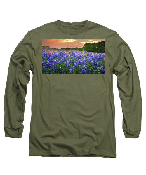 Springtime Sunset In Texas - Texas Bluebonnet Wildflowers Landscape Flowers Paintbrush Long Sleeve T-Shirt