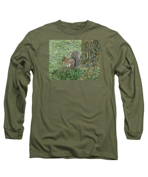 Squirrel Long Sleeve T-Shirt by Lucinda V VanVleck