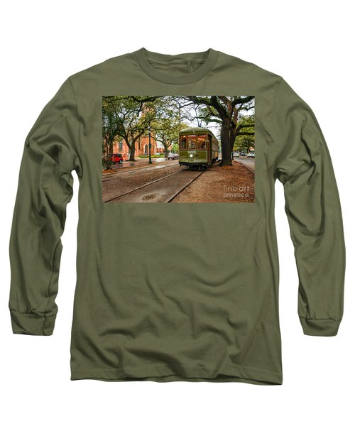 St. Charles Ave. Streetcar In New Orleans Long Sleeve T-Shirt