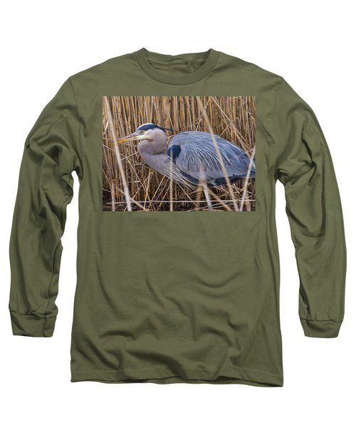 Stalking Fish In The Reeds Long Sleeve T-Shirt by Allan Levin