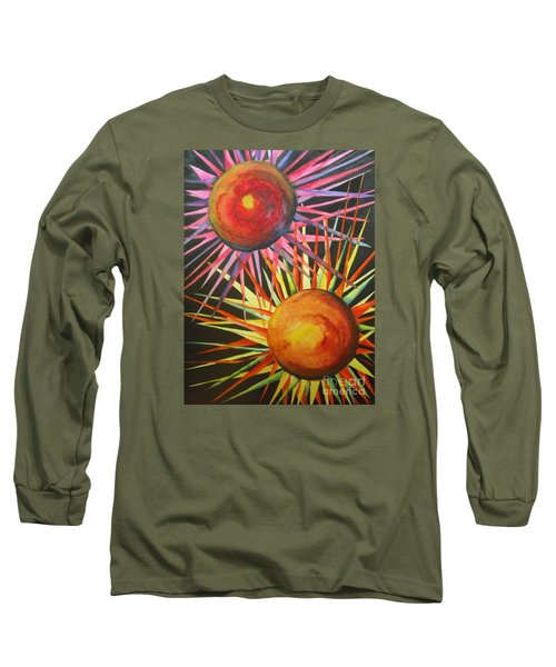 Long Sleeve T-Shirt featuring the painting Stars With Colors by Chrisann Ellis