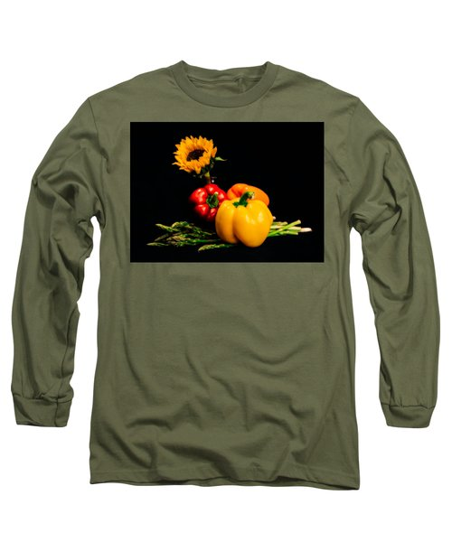 Still Life Peppers Asparagus Sunflower Long Sleeve T-Shirt by Jon Woodhams