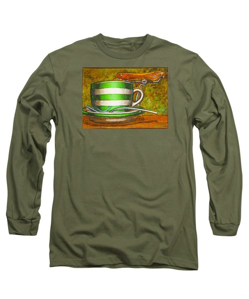Still Life With Green Stripes And Saddle  Long Sleeve T-Shirt by Mark Jones