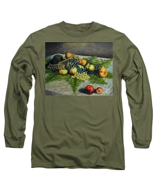Still Life With Pears And Grapes Long Sleeve T-Shirt