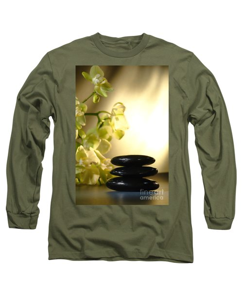 Stone Cairn And Orchids Long Sleeve T-Shirt
