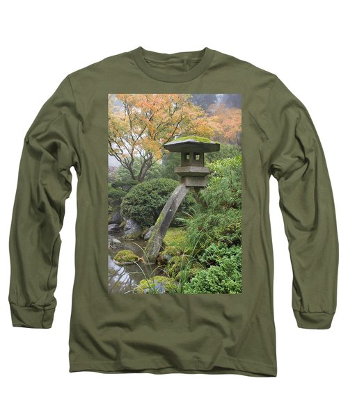 Long Sleeve T-Shirt featuring the photograph Stone Lantern In Japanese Garden by JPLDesigns