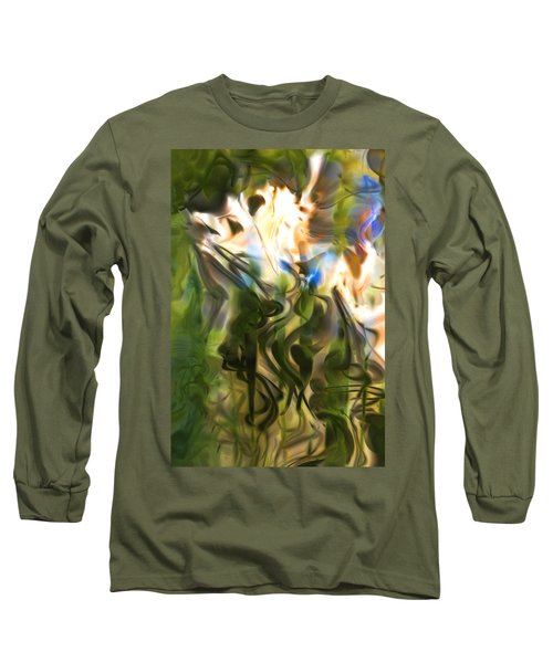 Long Sleeve T-Shirt featuring the digital art Stork In The Music Garden by Richard Thomas