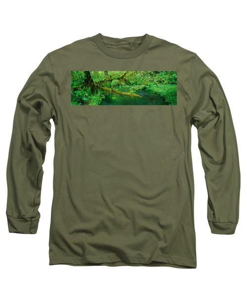 Stream Flowing Through A Rainforest Long Sleeve T-Shirt by Panoramic Images