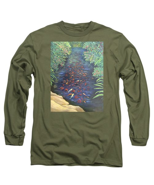 Long Sleeve T-Shirt featuring the painting Stream Of Koi by Karen Zuk Rosenblatt