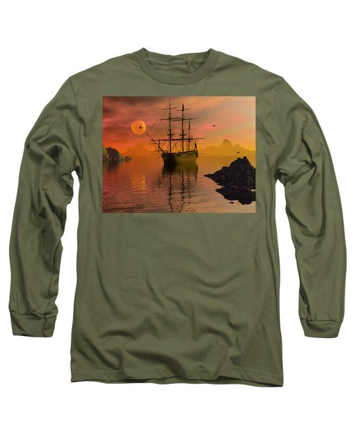 Long Sleeve T-Shirt featuring the digital art Summer Anchorage by Claude McCoy