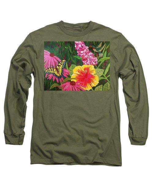 Long Sleeve T-Shirt featuring the painting Summer Garden by Ellen Levinson