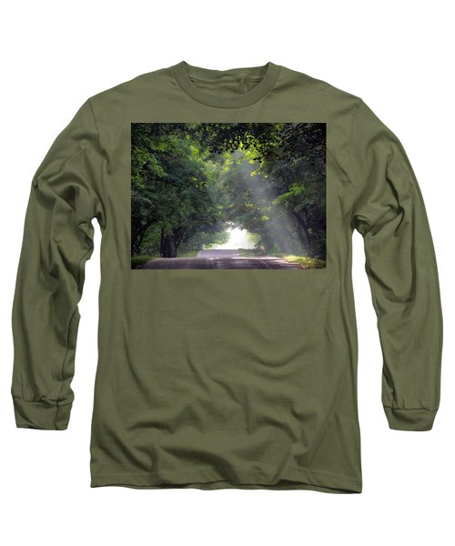 Sun Rays On Waters End Road Long Sleeve T-Shirt by David T Wilkinson