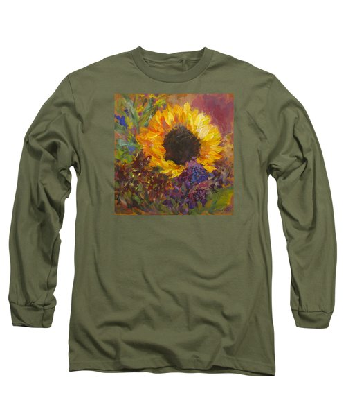 Sunflower Dance Original Painting Impressionist Long Sleeve T-Shirt by Quin Sweetman