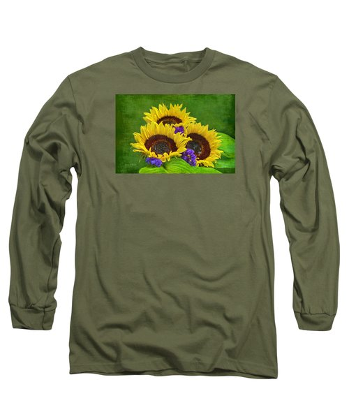 Sunflower Trio Long Sleeve T-Shirt by Sandi OReilly