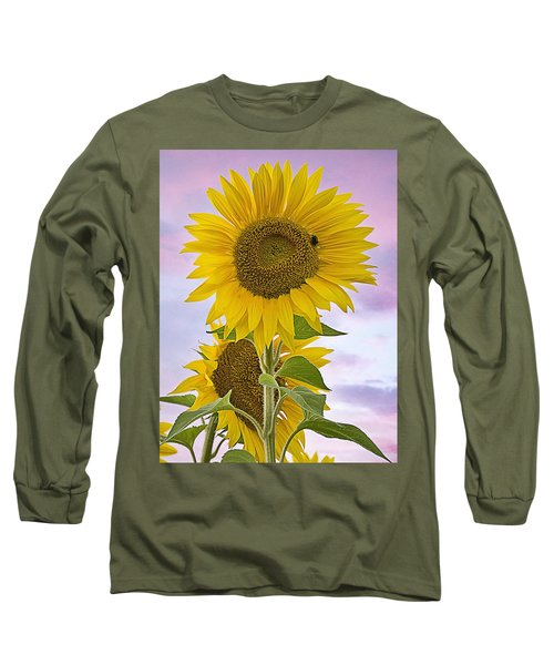 Sunflower With Colorful Evening Sky Long Sleeve T-Shirt