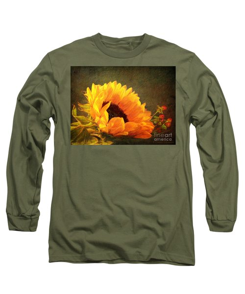 Sunflower - You Are My Sunshine Long Sleeve T-Shirt by Lianne Schneider