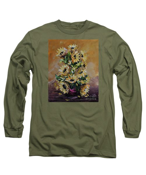 Long Sleeve T-Shirt featuring the painting Sunflowers For You by Teresa Wegrzyn