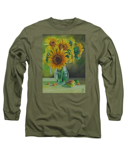 Long Sleeve T-Shirt featuring the painting Sunflowers In Glass Jug by Nina Mitkova