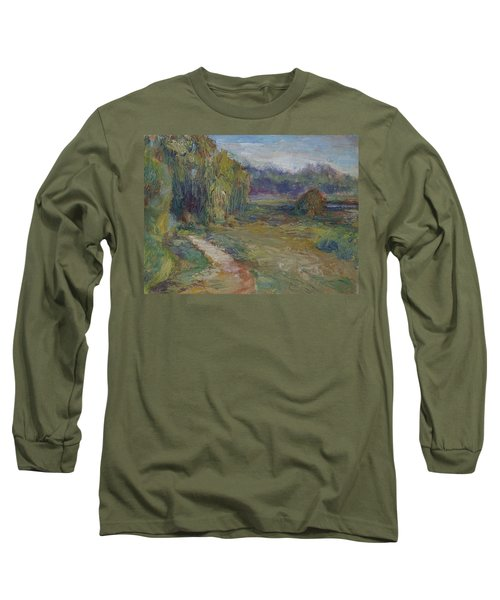 Sunny Morning In The Park -wetlands - Original - Textural Palette Knife Painting Long Sleeve T-Shirt by Quin Sweetman