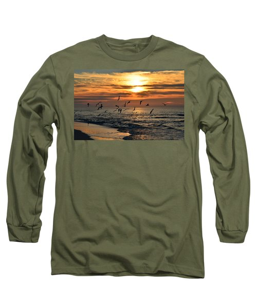 Long Sleeve T-Shirt featuring the photograph Sunrise Colors Over Navarre Beach With Flock Of Seagulls by Jeff at JSJ Photography