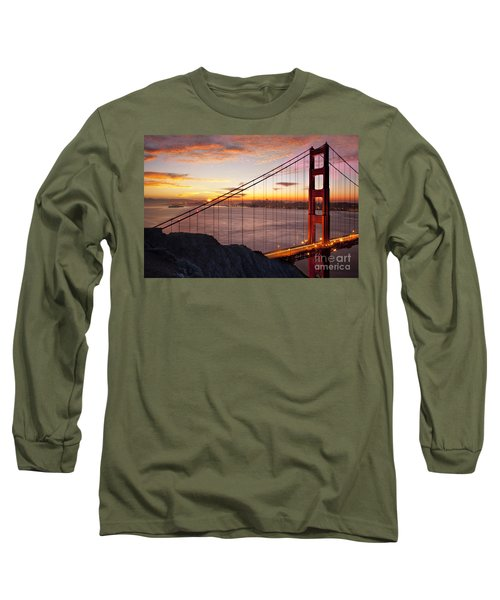 Sunrise Over The Golden Gate Bridge Long Sleeve T-Shirt