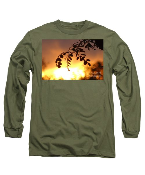 Sunset And Leaves Long Sleeve T-Shirt by Justin Moore