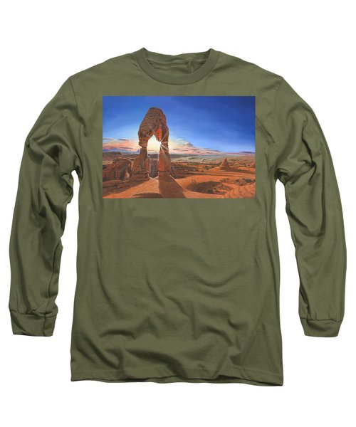 Sunset At Delicate Arch Utah Long Sleeve T-Shirt