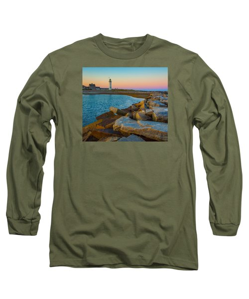 Sunset At Old Scituate Lighthouse Long Sleeve T-Shirt by Brian MacLean