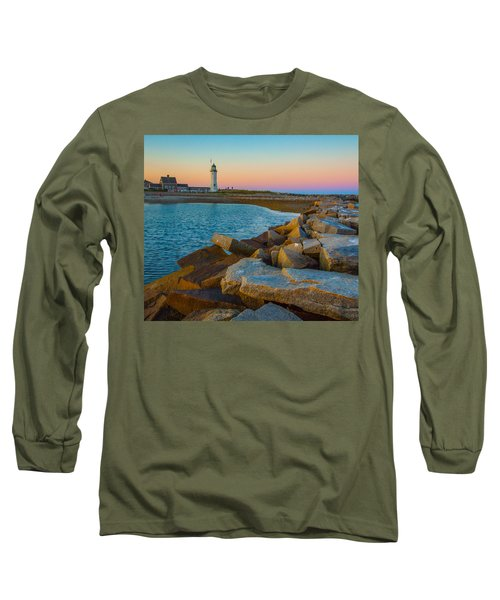 Sunset At Old Scituate Lighthouse Long Sleeve T-Shirt