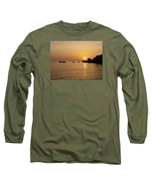 Sunset Crooklets Beach Bude Cornwall Long Sleeve T-Shirt by Richard Brookes