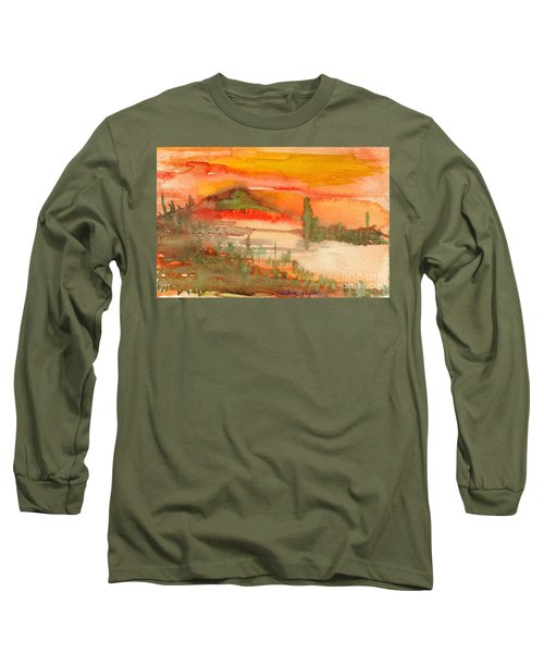 Sunset In Saguaro Desert  Long Sleeve T-Shirt by Mukta Gupta