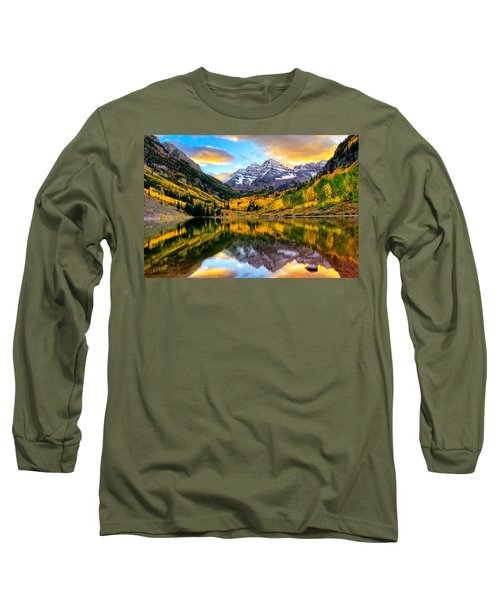 Sunset On Maroon Bells Long Sleeve T-Shirt