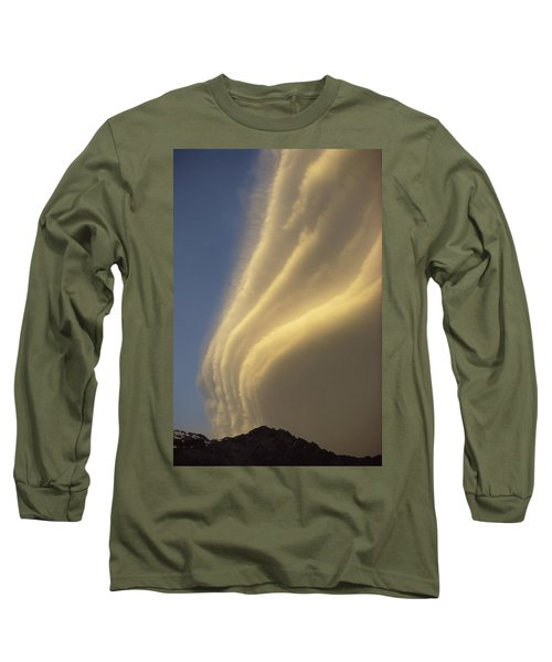 Sunset On Storm Clouds Near Mt Cook Long Sleeve T-Shirt by Ian Whitehouse