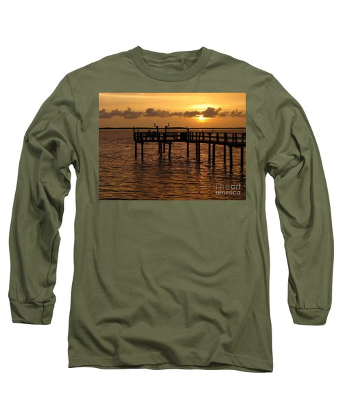 Sunset On The Dock Long Sleeve T-Shirt by Peggy Hughes