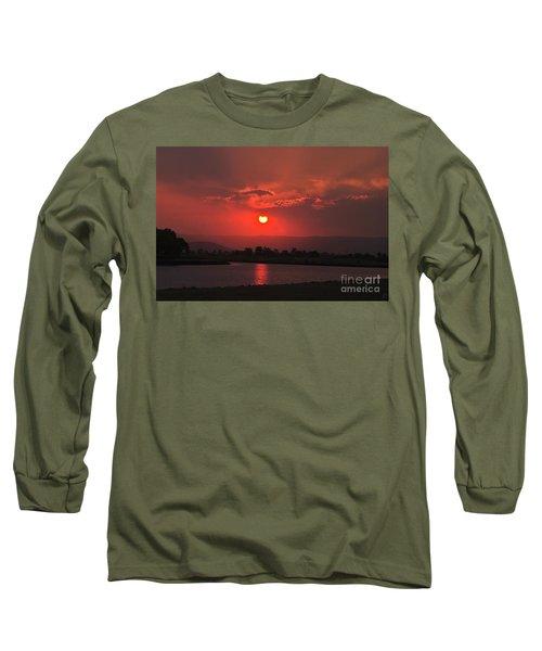Sunset Over Hope Island Long Sleeve T-Shirt by Blair Stuart