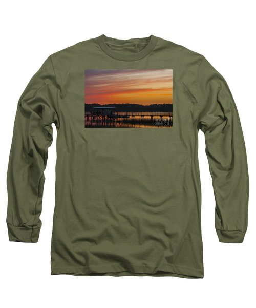 Sunset Over The Wando River Long Sleeve T-Shirt by Dale Powell