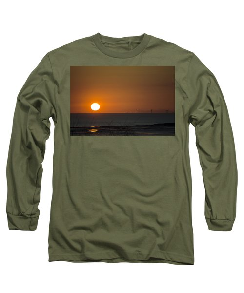 Sunset Over The Windfarm Long Sleeve T-Shirt by Spikey Mouse Photography