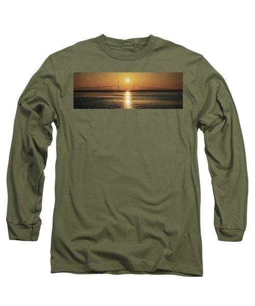 Long Sleeve T-Shirt featuring the photograph Sunshine Skyway Bridge Sunrise by Steven Sparks