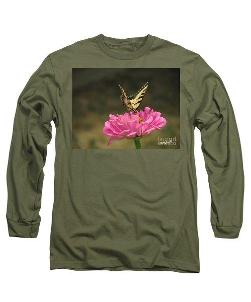 Swallowtail On A Zinnia Long Sleeve T-Shirt by Debby Pueschel