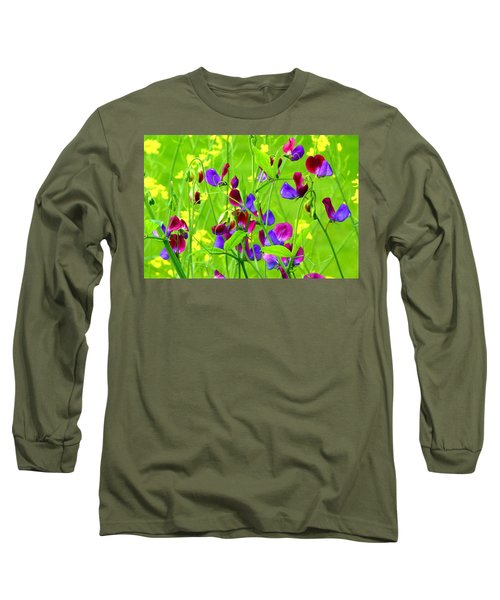 Long Sleeve T-Shirt featuring the photograph Sweet Peas by Byron Varvarigos