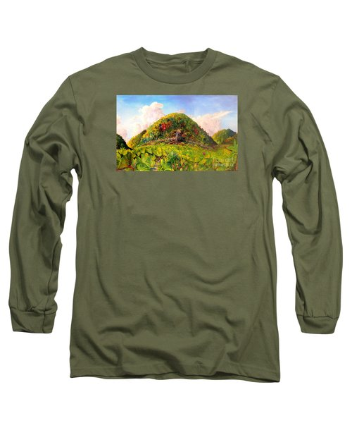Long Sleeve T-Shirt featuring the painting Taro Garden Of Papua by Jason Sentuf