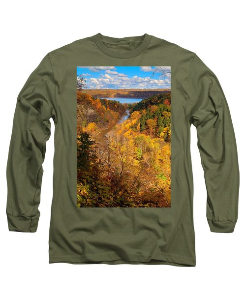 Long Sleeve T-Shirt featuring the photograph Taughannock River Canyon In Colorful Fall Ithaca New York by Paul Ge