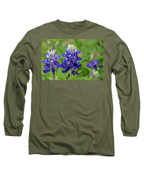 Texas Bluebonnets Long Sleeve T-Shirt by Debra Martz