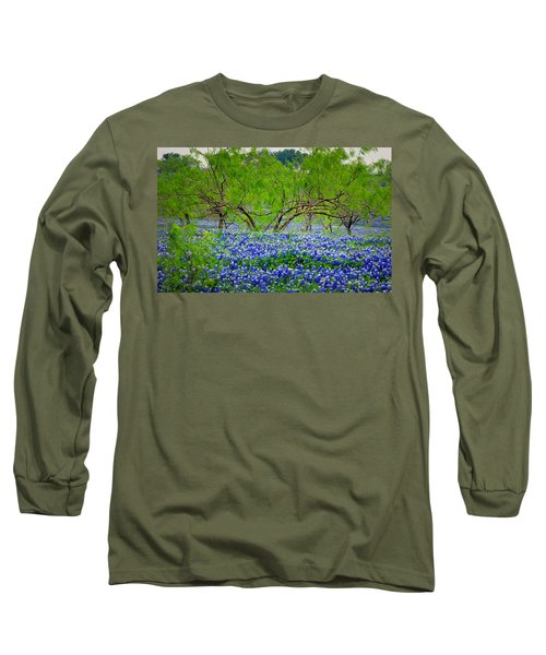 Long Sleeve T-Shirt featuring the photograph Texas Bluebonnets - Texas Bluebonnet Wildflowers Landscape Flowers by Jon Holiday