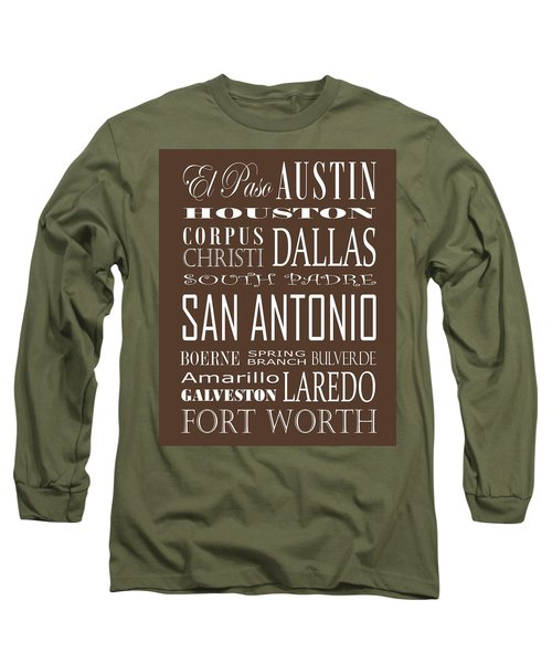 Texas Cities On Brown Long Sleeve T-Shirt by Debbie Karnes