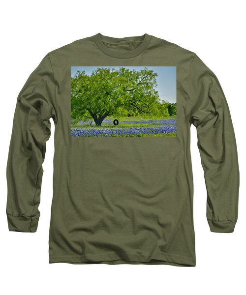 Long Sleeve T-Shirt featuring the photograph Texas Life - Bluebonnet Wildflowers Landscape Tire Swing by Jon Holiday