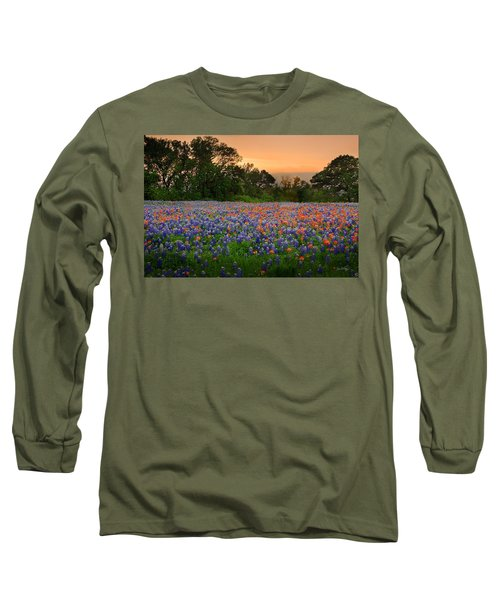 Texas Sunset - Bluebonnet Landscape Wildflowers Long Sleeve T-Shirt by Jon Holiday