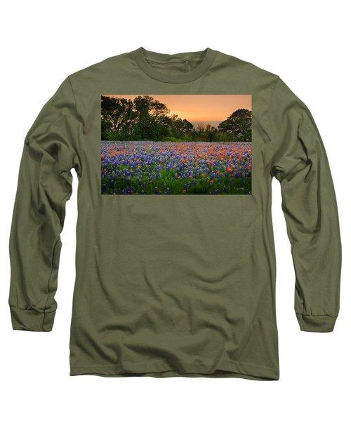 Texas Sunset - Bluebonnet Landscape Wildflowers Long Sleeve T-Shirt