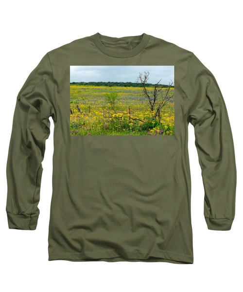 Texas Wildflowers And Mesquite Tree Long Sleeve T-Shirt