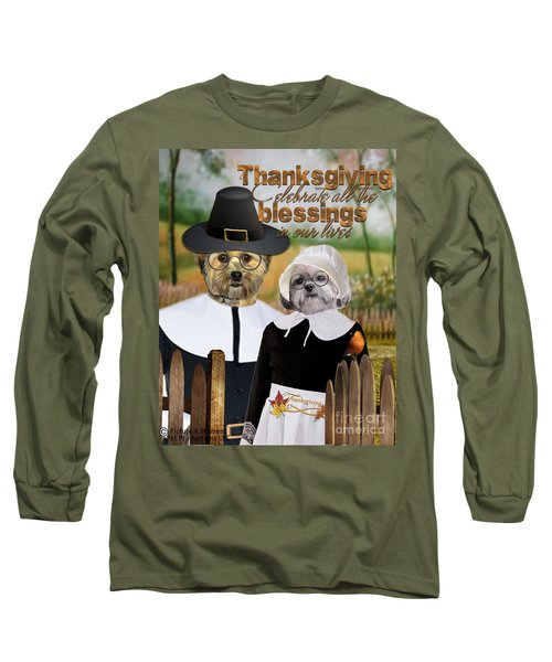 Long Sleeve T-Shirt featuring the digital art Thanksgiving From The Dogs-2 by Kathy Tarochione